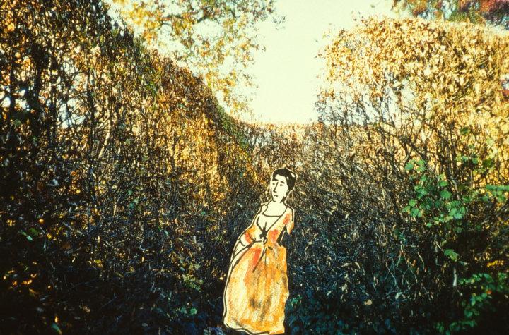 Collage - eine Hecke, darin ein gezeichnetes Fräulein