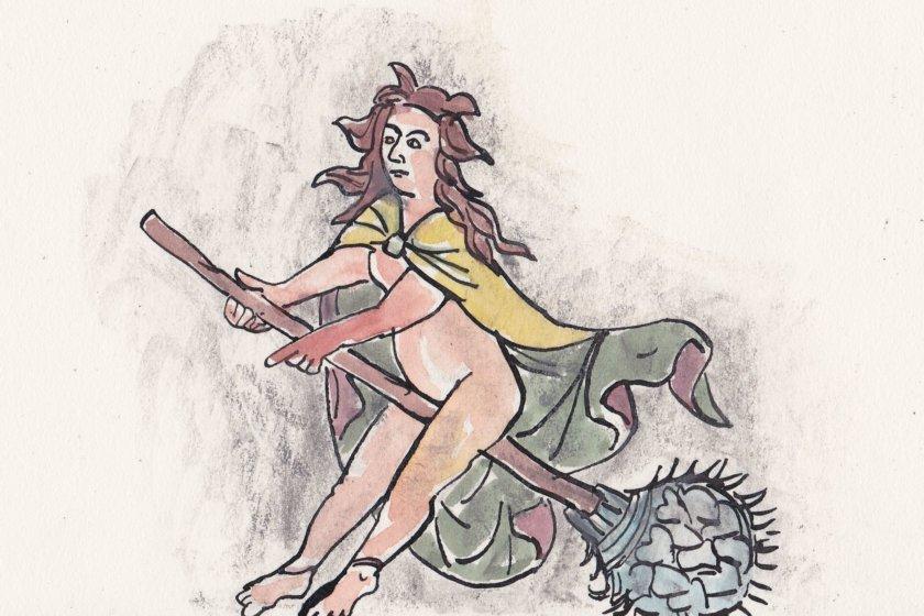 Zeichnung einer auf einem Blumestängel reitenden Frau, fast nackt ist sie.
