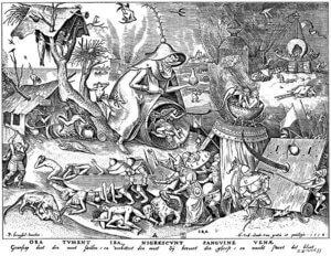 Ira, der Zorn. Holzschnitt nach Pieter Brueghel d.Ä.