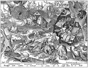 2.Desidia, die Trägheit; Holzschnitt nach Pieter Brueghel d.Ä.