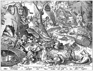 5. Gula, die Gier; Holzschnitt nach Pieter Brueghel d.Ä.