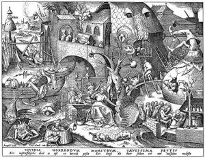 6. Invidia, der Neid; Holzschnitt nach Pieter Brueghel d.Ä.