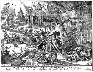 7. Luxuria, die Wollust; Holzschnitt nach Pieter Brueghel d.Ä.