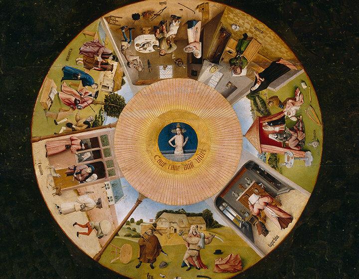 Detail aus Hieronymus Bosch: Die sieben Todsünden mit den vier letzten Dingen (1505-1510).