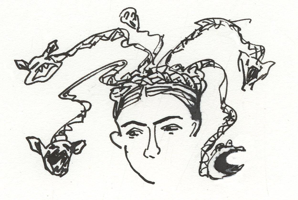 Zeichnung: aus einem um einen Frauenkopf gewundenen Zopf
